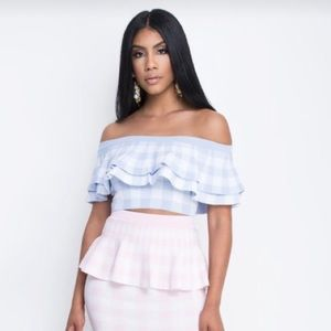 Tops - Off The Shoulder Ruffle Gingham Sweater Top